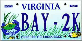 Virginia 'Friend of the Chesapeake' Specialty License Plate.